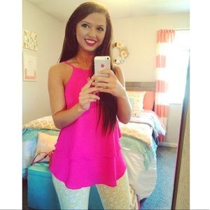 Francesca's | Hot Pink Sz XS Layered Tank Top